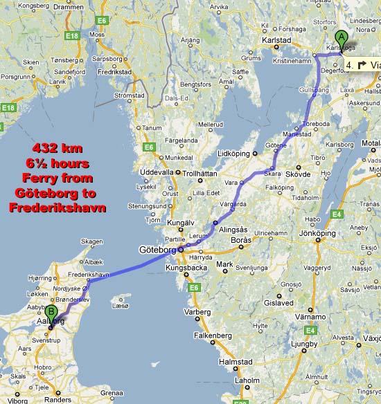Danish World Cup Aalborg - Karlskoga sweden map